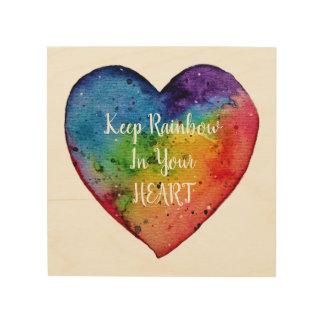 Cute watercolor Rainbow Heart Wood Wall Art