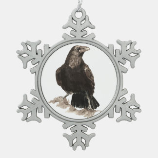 Cute Watercolor Raven Bird Nature Art Snowflake Pewter Christmas Ornament