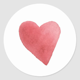 Cute Watercolor Red Heart Minimalist Classic Round Sticker