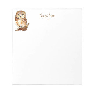 Cute Watercolor Saw Whet Owl, Bird, Animal Notepad
