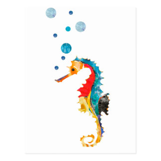 Cute Watercolor SEA HORSE seahorse Ocean Animal Postcard