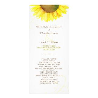 Cute Watercolor Sunflower Wedding Program Rack Card