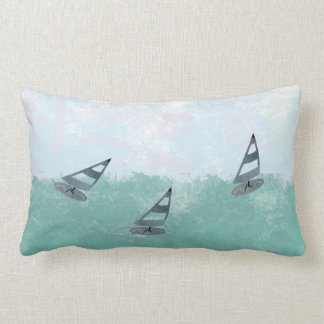 Cute Watercolor Surfing Wind Surf Lumbar Pillow