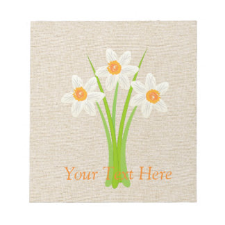 Cute Watercolor White Daffodils Notepad