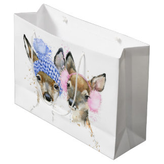 Cute Watercolor Winter Deer Large Gift Bag