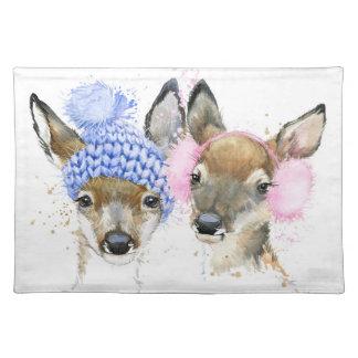 Cute Watercolor Winter Deer Placemat