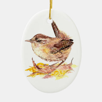 Cute Watercolor Wren Bird, Nature, Wildlife Animal Christmas Ornament