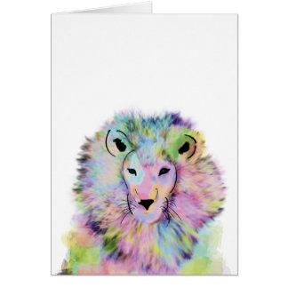 Cute Watercolour Lion Greeting Card