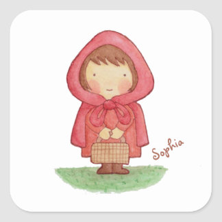 Cute Watercolour Red Riding Hood Sticker