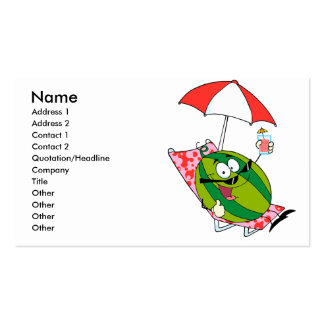cute watermelon character lounging with juice business card templates