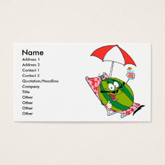 cute watermelon character lounging with juice business card