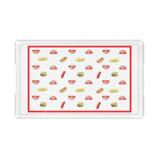 Cute Watermelon, Hamburger, Hotdog, Corn Serving Acrylic Tray