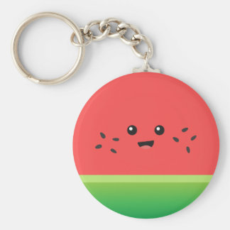Cute Watermelon, Happy and Cheerful Basic Round Button Key Ring