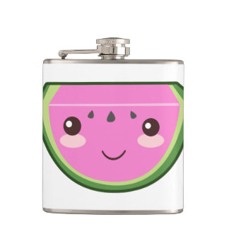 Cute Watermelon Illustration Hip Flask