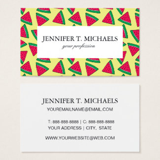 Cute Watermelon Slice Cartoon Pattern Business Card