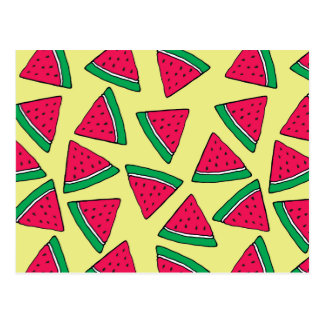 Cute Watermelon Slice Cartoon Pattern Postcard