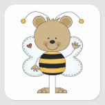 cute waving bumble bee bear sticker