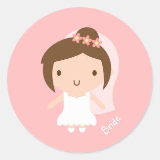 Cute Wedding Bride Girl in White Gown Round Sticker