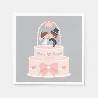 Cute Wedding Cake Bride Groom Personalized Napkins Disposable Napkin