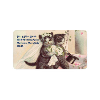 Cute Wedding Cats Bride and Groom Address Label