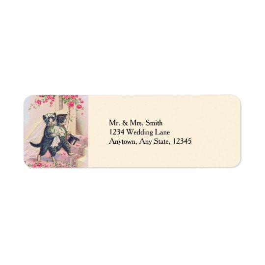 Cute Wedding Cats Bride and Groom Return Address