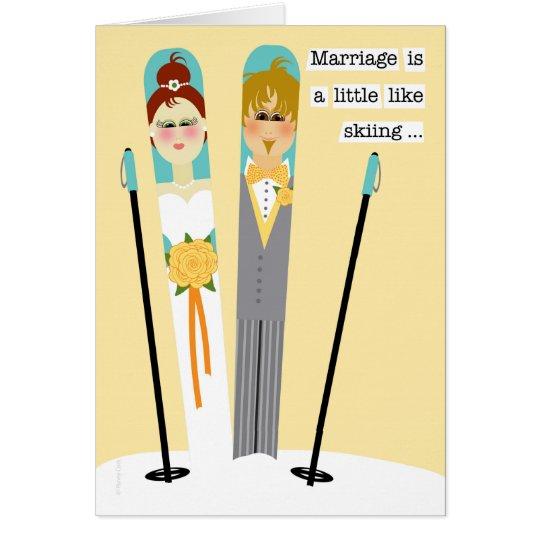 Cute Wedding Congratulations Snow Skiing Couple Card