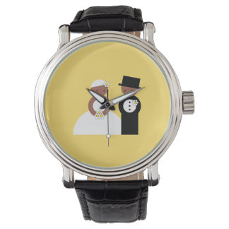 Cute wedding couple watch