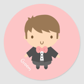 Cute Wedding Groom Boy in Tuxedo For Him Round Sticker