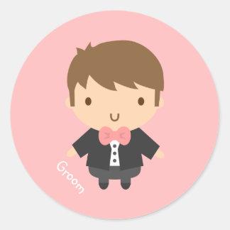 Cute Wedding Groom Boy in Tuxedo For Him Round Stickers
