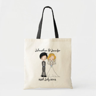 Cute Wedding Memento Bride and Groom Tote Bag