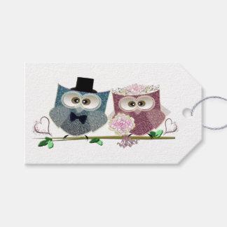 Cute Wedding Owls Art Gift Tag