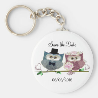 Cute Wedding Owls Basic Round Button Key Ring