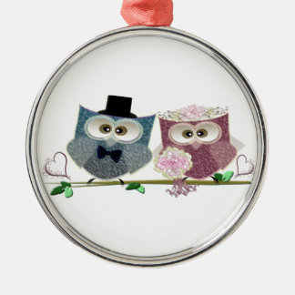 Cute Wedding Owls Christmas Ornament