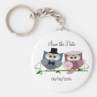 Cute Wedding Owls Basic Round Button Key Ring