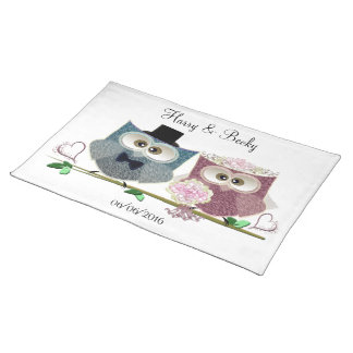 Cute Wedding Owls Personalise Placemat