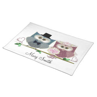 Cute Wedding Owls Personalise Seating Placemat