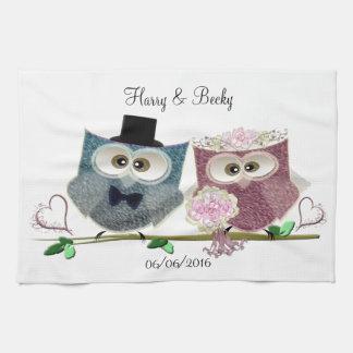 Cute Wedding Owls Personalise Tea Towel