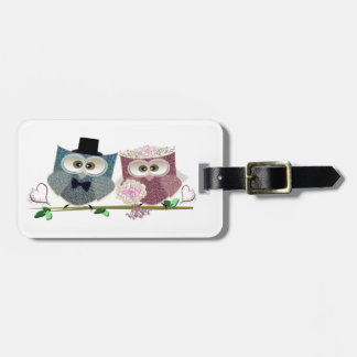 Cute Wedding Owls Travel Bag Tags