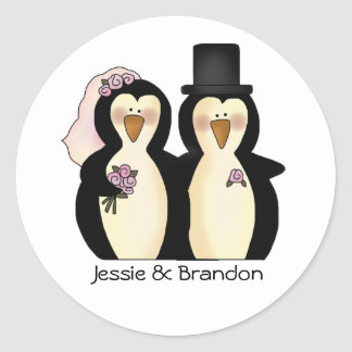 Cute Wedding Penguins Envelope Seal