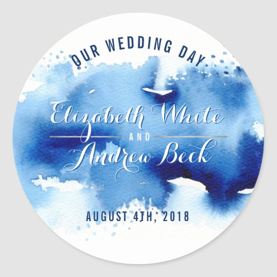CUTE WEDDING SEAL stylish watercolor dark blue