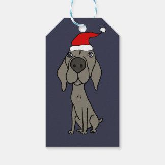 Cute Weimaraner Dog in Santa Hat Christmas Cartoon Gift Tags