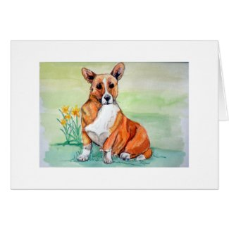 Cute Welsh Corgi Dog with Daffodils