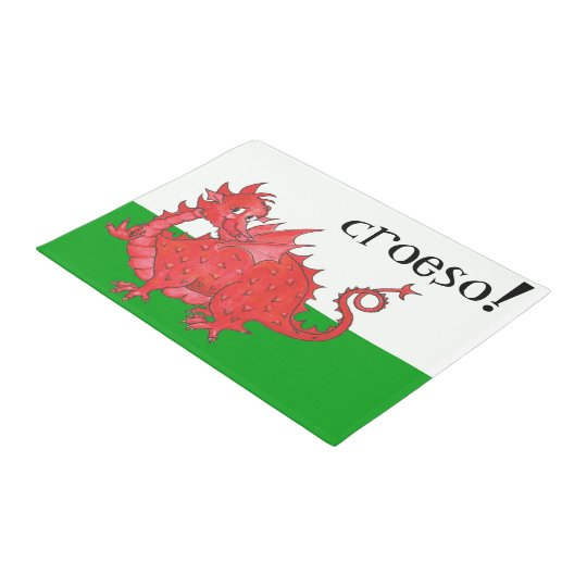 Cute Welsh Red Dragon on Green, White Croeso