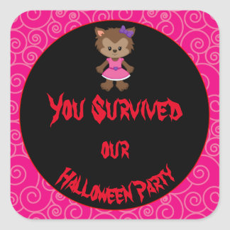 Cute Werewolf Girl Halloween Party Square Sticker