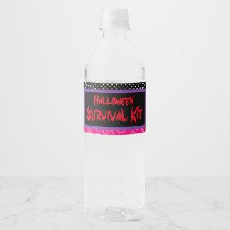 Cute Werewolf Girl Halloween Party Water Bottle Label