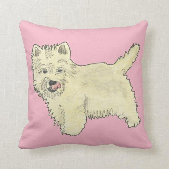 Cute West Highland Terrier Dog Art Painting Design Cushion