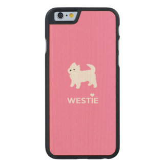 Cute West Highland Terrier - I Love Westies Carved® Maple iPhone 6 Slim Case