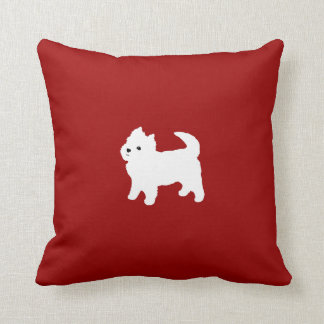 Cute West Highland Terrier White Puppy Red Cushion
