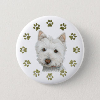 Cute West Highland White Terrier Dog and Paws 6 Cm Round Badge