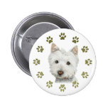 Cute West Highland White Terrier Dog and Paws Button